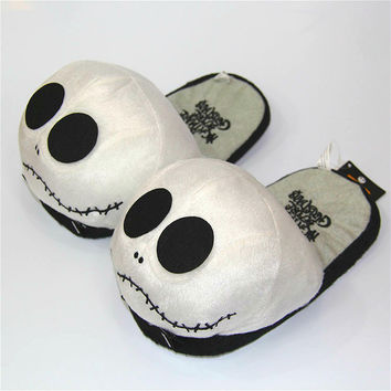 28cm Anime Nightmare Before Christmas Jack Skellington Plush Slippers Shoes Warm Winter Adult Slipper Great Gift free shipping