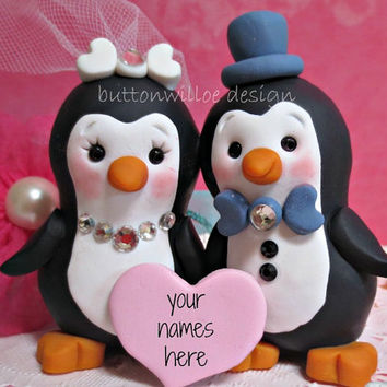 Love Bird Penguin Cake Topper / Wedding Cake Topper Winter or anytime of the year
