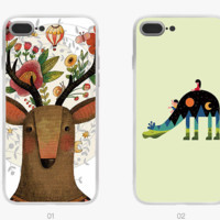 New Fashion cute animal painting Plastic Case Cover iPhone7 7plus 6 Plus 6-05005
