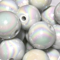 20mm iridescent AB white chunky bubblegum beads