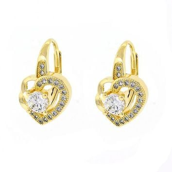 Gold Layered 02.195.0048 Leverback Earring, Heart Design, with White Cubic Zirconia and White Micro Pave, Polished Finish, Golden Tone