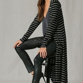 A Layer Of Love Black White Horizontal Stripe Pattern Long Sleeve Open Front Cardigan Duster Sweater