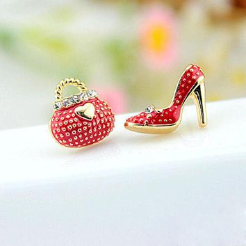 Earrings | Red Bags Heels Shoe Asymmetric Earrings