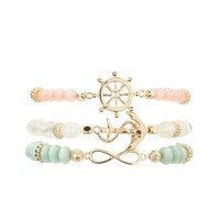 Beaded Nautical Charm Bracelets - 3 Pack by Charlotte Russe - Multi