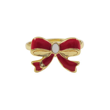 Red Enamel With White Enamel Center, Gold Plated Brass Bow Adjustable Ring