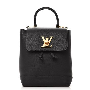 LOUIS VUITTON Calfskin Lockme Mini Backpack Noir Black
