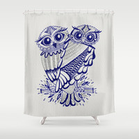 Owls – Silver & Navy Shower Curtain by Cat Coquillette