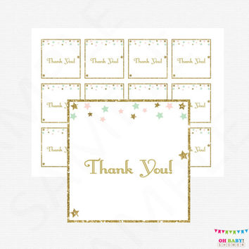 Twinkle Twinkle Little Star Baby Shower Thank You Tags, Pink Mint Gold Baby Shower, Printable Favor Tags, Shower Decor, Favor Cards, STPMG
