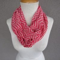 Chevron Infinity Scarf - Pink Zigzag Scarf - Pink and White Chiffon Circle Scarf