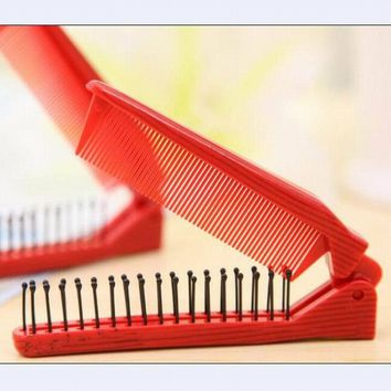 Dual purpose anti-static plastic folding comb as hair care head scalp massager comb for promote blood circulation styling comb.