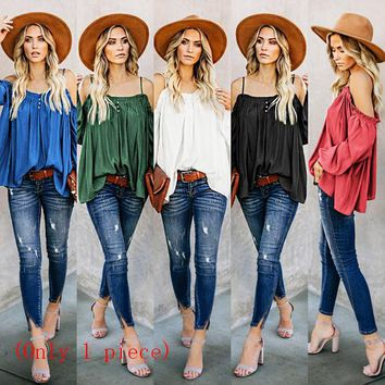 New women's off-the-shoulder sling top loose long-sleeved cotton T-shirt(Only one piece)