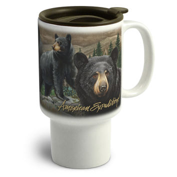 American Expedition Stoneware Travel Mug-Black Bear Collage