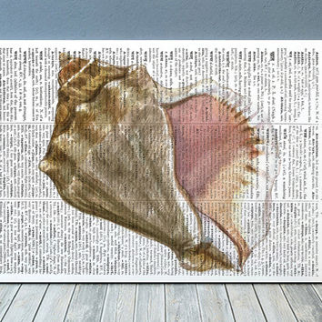Seashell poster Beach house print Dictionary print Nautical decor RTA2214