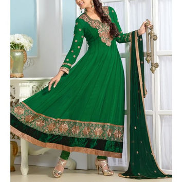 Green Embroidered Georgette Anarkali Suits