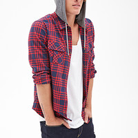 Flannel Hoodie Jacket Red/Grey