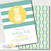 Pineapple Invitation / Birthday Party - Printable Invite