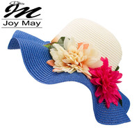 Mother Daughter Hat Lady Wide Large Brim Floppy Summer Beach Sun Straw Hat Cap with flower