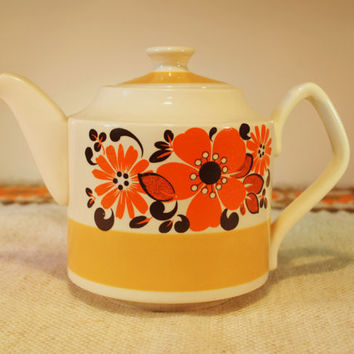 Vintage Sadler Teapot, Harvest Gold & Cream with Orange and Brown Flowers, made in Staffordshire England