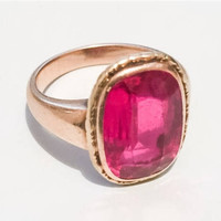Large Ruby Ring, 14K Gold, Edwardian Vintage Jewelry SALE