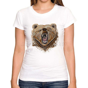 Asian Size new fashion Pixel Bear retro printed women t shirt short sleeve casual lady novelty tops animal funny cool tee shirts