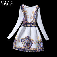 Women Dress Long Sleeve Summer Vestidos Girl Fashion Casual Retro Print Sexy Club Party Birthday Dresses Valentine's Day Gift