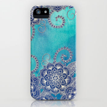 Mermaid's Garden - Navy & Teal Floral on Watercolor iPhone & iPod Case by Micklyn