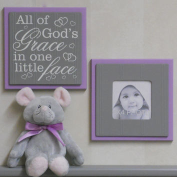 All of God's Grace in One Little Face - Sign Painted Purple and Gray Baby Girl Nursery Wall / Room Decor - Set of 2 - Photo Frame and Sign