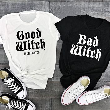 Bad Witch Good Witch Best Friends Graphic Tee Shirt