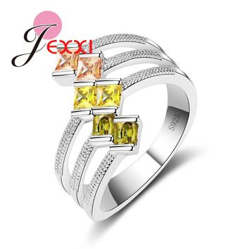 JEXXI New Arrival 3 Colors Double Crystal Finger Champagne Three-Jaw 925 Sterling Silver Rings for Women Party Jewelry