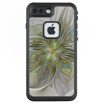 Floral Fantasy Modern Fractal Art Flower With Gold LifeProof® FRĒ® iPhone 7 Plus Case