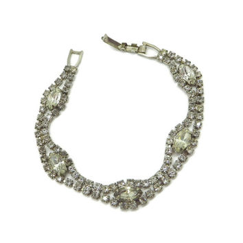 Vintage Weiss Signed Double Row Chaton Marquise Rhinestone Bracelet