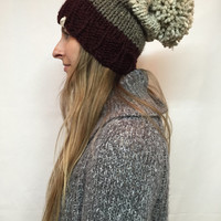 Knit Slouchy Hat Beanie With Pom Pom Ombre Maroon Brown Tweed Warm And Cozy