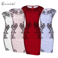 Gamiss Vestidos Summer Women Plus Size Elegant Floral Print Cap Sleeve Tunic Work Business Casual Party Pencil Sheath Dress