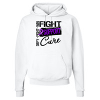 Pancreatic Cancer Fight Support Cure Hooded Sweatshirts  featuring the words Fight, Defy and Win