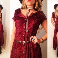 Vintage 1970's Crimson Velvet Gypsy Maxi Dress with concho buttons || Magenta+Violet+Purple Burnout Velvet. Size Medium Size Small