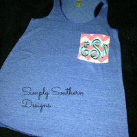 CHEVRON Monogrammed Pocket Tanks