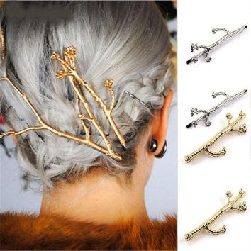 Metal branches women's hair clip side clips