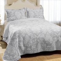 Venetia Quilt Set in Gray