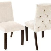 Lisa Tufted-Back Cream Side Chairs, Pair