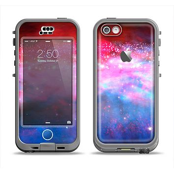 The Vivid Pink and Blue Space Apple iPhone 5c LifeProof Nuud Case Skin Set