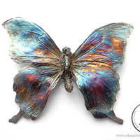 Butterfly silver pendant, large tropical butterfly jewelry, statement jewelry, rainbow butterfly, exclusive jewelry