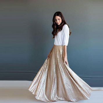 Elegant Dazzling Sequins Maxi Long Skirts For Women A-line Floor Length Skirt Fashion Custom Made High End Shiny Clothing
