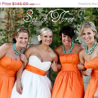 Valentines Day Sale Set of 3 Turquoise Bridesmaids Necklaces in a two strand coin design. Bridal Party Jewelry