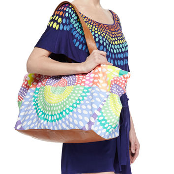 Women's Printed Canvas/Leather Weekend Bag - Mara Hoffman - Electrolight ston (ONE SIZE)
