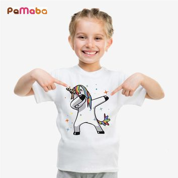 PaMaBa Unicorn/Dog/Cat Dabbing Print Children's T-Shirt Summer Hiphop Style Boys and Girls Tees Cotton Tops Kids Casual Clothes