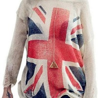 Lingswallow Women Loose British Flag Print Frayed Jumper Knit Sweater Free Apricot