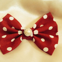 Classic Vintage Inspired Red & White Polka Dot Bow