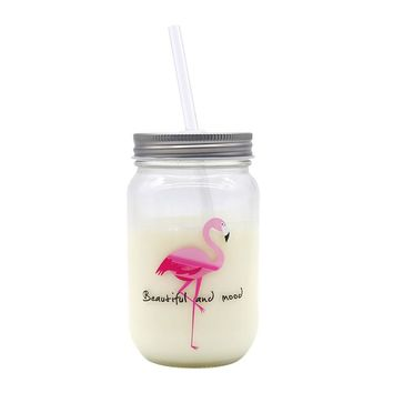 INS Hot Flamingo Straw Glass Mason Jar Creative Drinking Cup with Lid and Straw Eco-Friendly Fruit Salad Bottle breakfast Jars