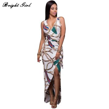 BRIGHT GIRL Women Party Dress Summer Sexy V-Neck Ladies Dress Elegant Women's Sleeveless Clubwear Dresses Female Vestidos