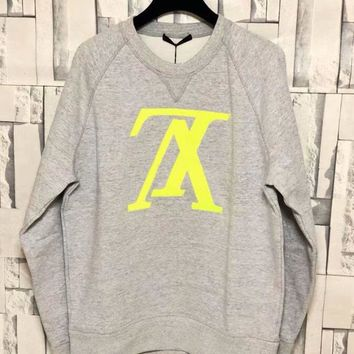 LV Women Men Print Cotton Sweater Grey